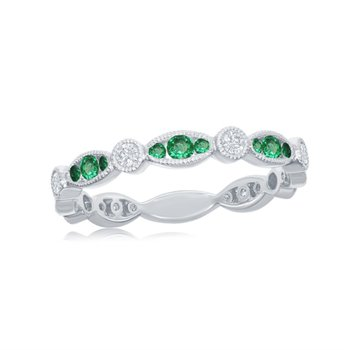 Emerald and Diamond Band in White Gold
