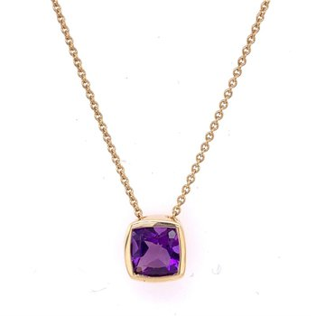 Amethyst Pendant in Yellow Gold
