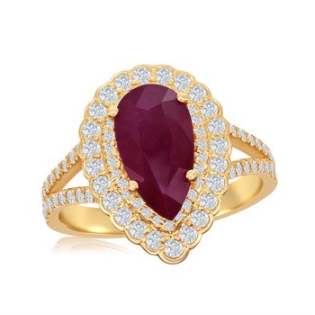 Ruby and Diamond Ring in Yellow Gold