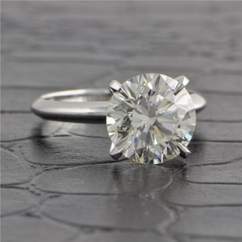 GIA 3.37 Carat K-SI1 Round Brilliant Cut Diamond in White Gold