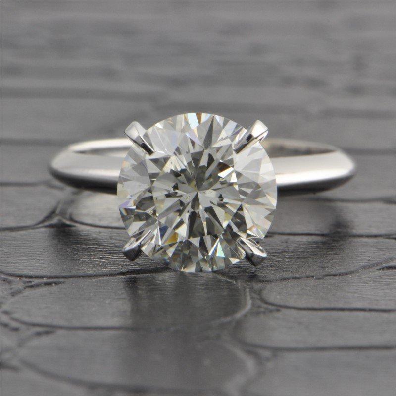 Perry's Estate Collection GIA 3.37 Carat K-SI1 Round Brilliant Cut Diamond in White Gold