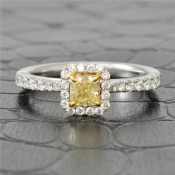 Yellow Cushion Cut Diamond Halo Engagement Ring in 18K Gold