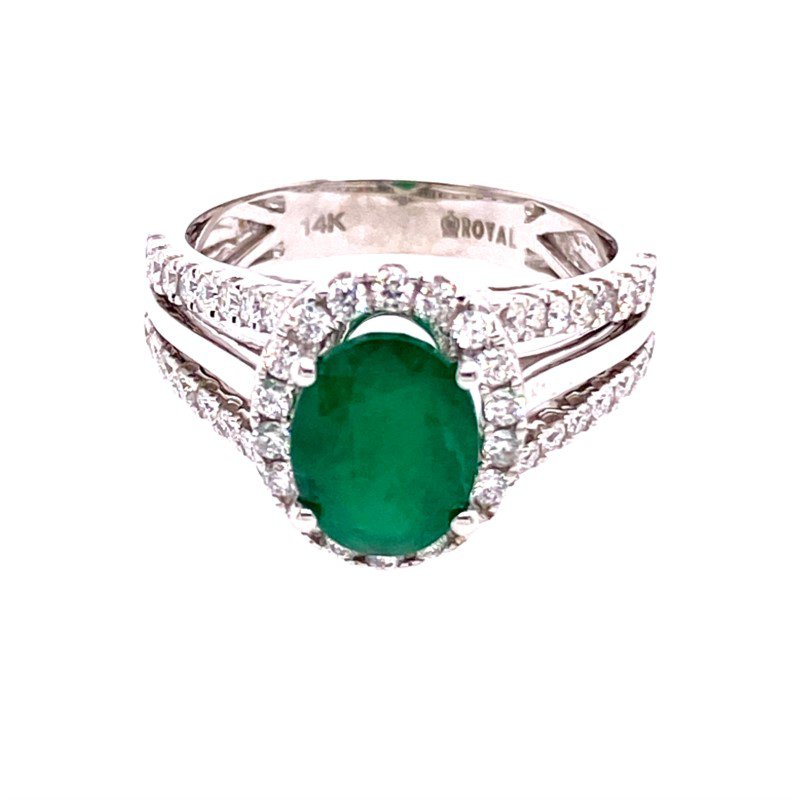 Royal Jewelry Emerald and Diamond Ring in White Gold