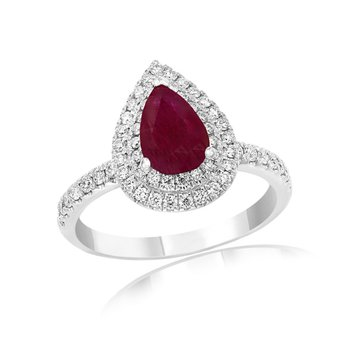 Ruby and Diamond Ring in 18k White Gold