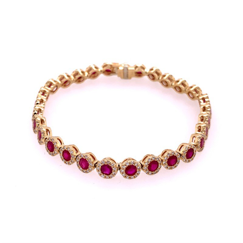 Effy Ruby and Diamond Bracelet in Yellow Gold