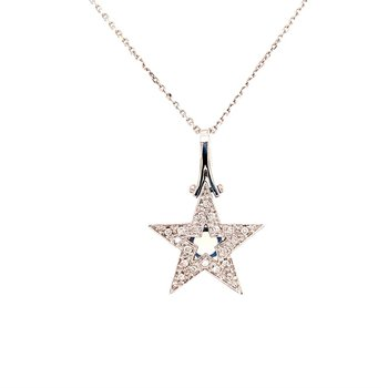 Diamond Star Pendant in White Gold