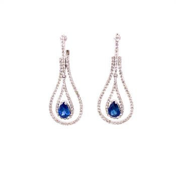 Sapphire and Diamond Earrings in White Gold