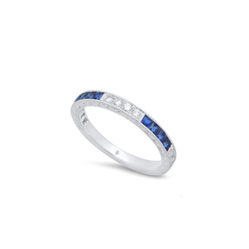 Beverley K Sapphire and Diamond Band in White Gold