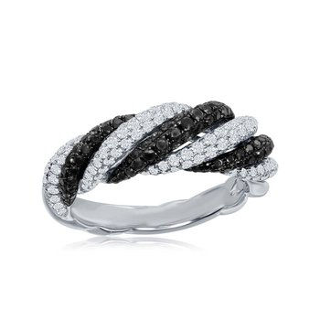 Black and White Diamond Band Ring in 18k White Gold