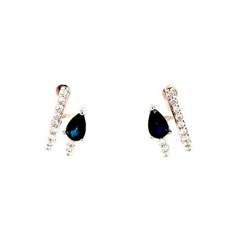 Sapphire and Diamond Arrow Earrings in White Gold