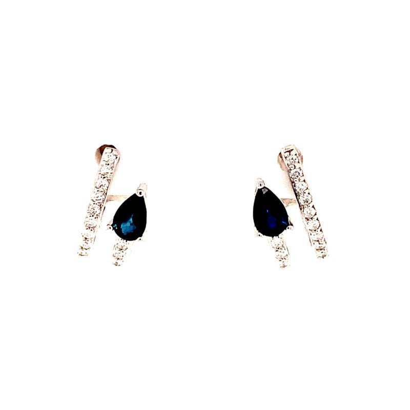 My Story Jewelry Sapphire and Diamond Arrow Earrings in White Gold