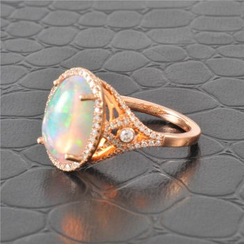 5.50 ct. Opal and Diamond Ring in Rose Gold