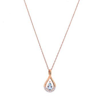 Tear Drop Shaped Aquamarine and Diamond Pendant in Rose Gold