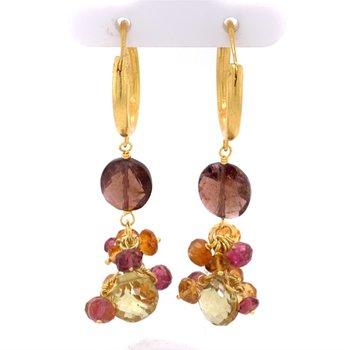 Multi Gem Dangle Earrings in 21k Gold