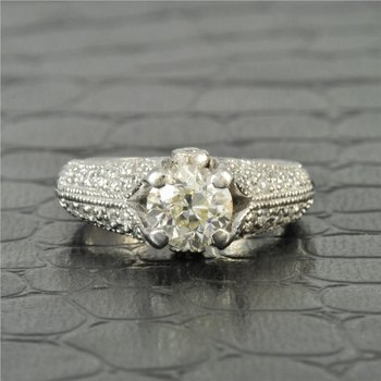 1.14 Carat L-VS1 Old Mine Cut Diamond Engagement Ring in 14K White Gold