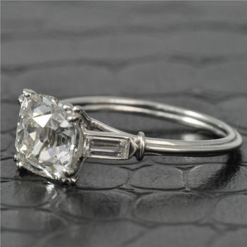 2.21 Carat Cushion Cut Diamond Engagement Ring in Platinum