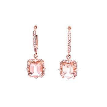 Morganite and Diamond Dangle Earrings in Rose Gold