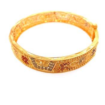 Beautiful 21k Gold Open Work Enameled Cannetille Style Bracelet