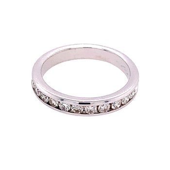 Channel Set Diamond Wedding Band in White Gold