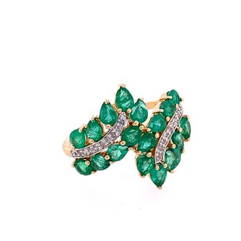 Emerald and Diamond Bypass Ring in Yellow Gold