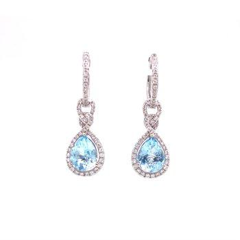Effy Aquamarine Dangle Huggie Earrings in White Gold
