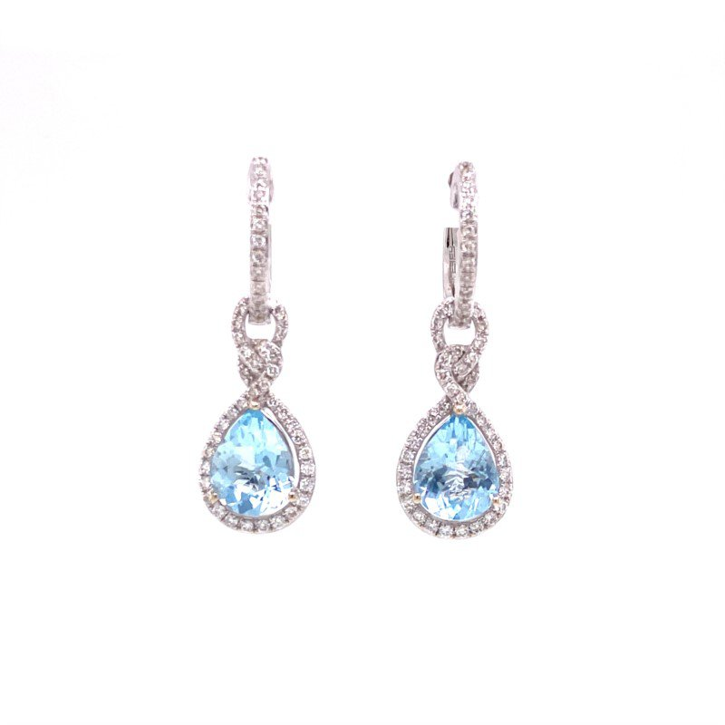 Effy Effy Aquamarine Dangle Huggie Earrings in White Gold