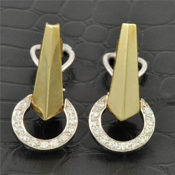 Diamond Circle Drop Earrings in Yellow Gold