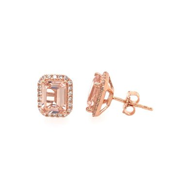 Morganite and Diamond Earrings in Rose Gold