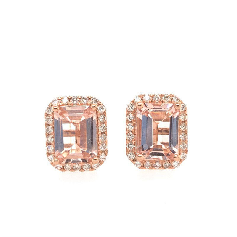 Effy Morganite and Diamond Earrings in Rose Gold