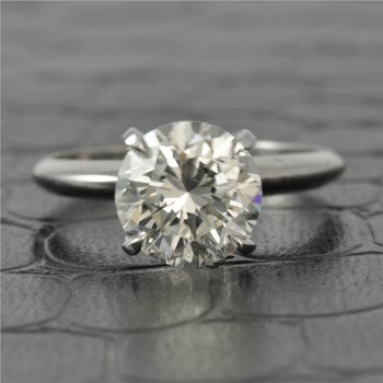 GIA 2.54 Carat J-SI2 Round Brilliant Cut Diamond Engagement Ring