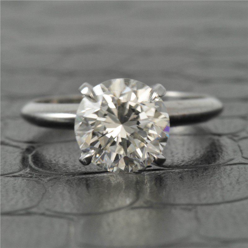 Perry's Estate Collection GIA 2.54 Carat J-SI2 Round Brilliant Cut Diamond Engagement Ring