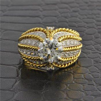 Two Tone 2.40 ct Round Brilliant Cut Diamond Ring