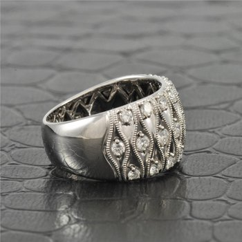 Wide Band Style Diamond Ring in White Gold