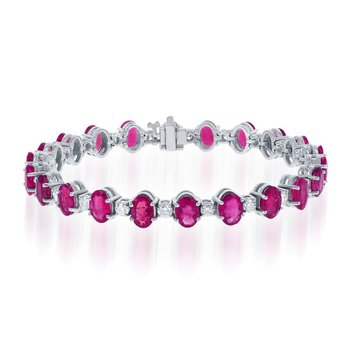 Ruby and Diamond Bracelet in White Gold