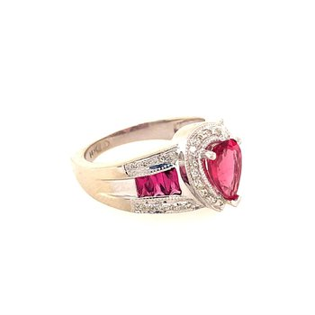 Pink Tourmaline and Diamond Ring in White Gold