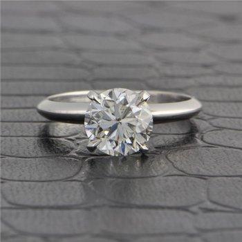 GIA 2.0 Carat H-SI1 Round Brilliant Cut Diamond Engagement Ring