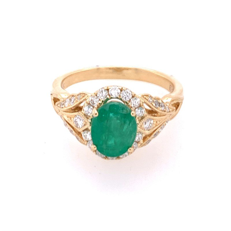 Effy Emerald and Diamond Ring in Yellow Gold