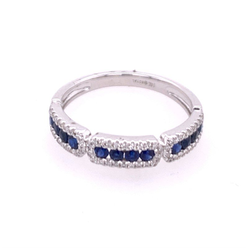 Royal Jewelry Sapphire and Diamond Band in White Gold