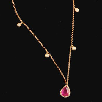 Ruby and Diamond Necklace in Rose Gold