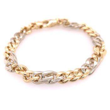 """8.5"""" Curb Link Chain in Two Tone Gold"""