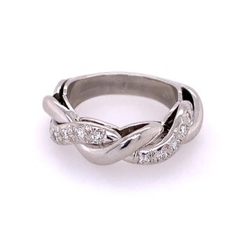 Platinum Diamond Twist Wedding Band