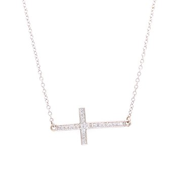 Diamond Cross Necklace in White Gold