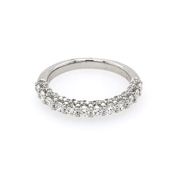 Scalloped Diamond Wedding Band in White Gold