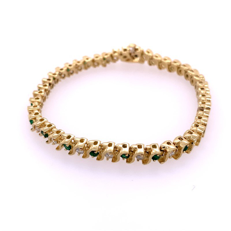 Perry's Estate Collection Emerald and Diamond Bracelet in Yellow Gold