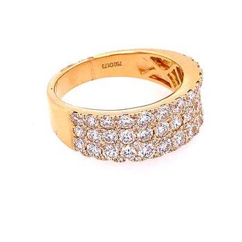 Three Row Diamond Ring in 18k Yellow Gold