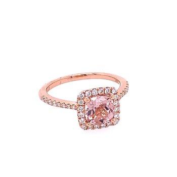 Morganite and Diamond Ring in Rose Gold