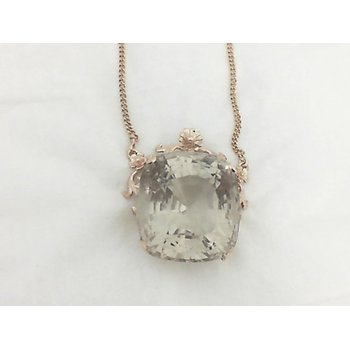 Large Smoky Quartz Necklace in Rose Gold