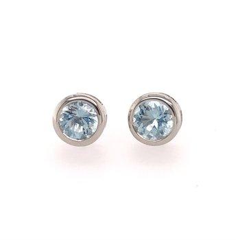 Blue Topaz Stud Style Earrings in White Gold