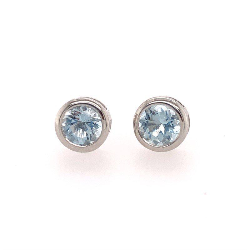 Effy Blue Topaz Stud Style Earrings in White Gold