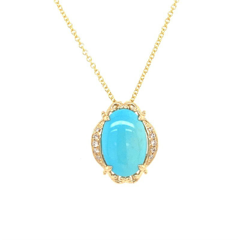 Effy Turquoise and Diamond Pendant in Yellow Gold
